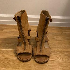 Shellys London Gladiator Peep Toe Ankle Booties